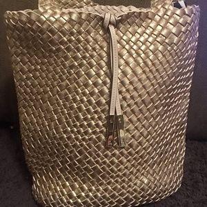Calvin Klein Rose Gold Woven Bucket Bag